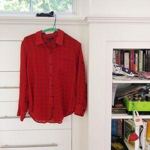 Red Silk Flannel Button Up